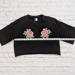 Divided Tops - Divided Black Embroidered Rose Sweatshirt